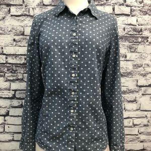 Talbots Denim Jean Chambray Polka Dot Button Shirt